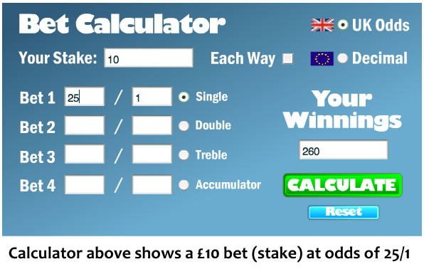 Betting calculator for horse racing betting rules for roulette