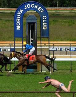 streaker at horse race